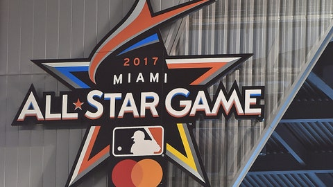 Apr 11, 2017; Miami, FL, USA; A general view of the MLB All-Star game logo inside Marlins Park prior to the game between the Miami Marlins and the Atlanta Braves. Mandatory Credit: Jasen Vinlove-USA TODAY Sports
