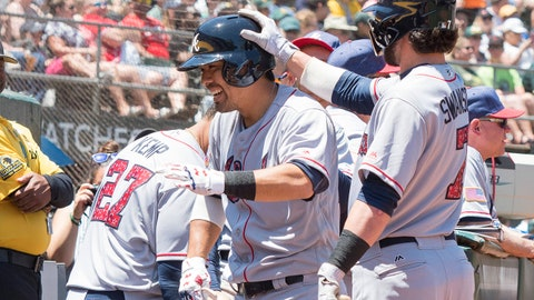 Jul 2, 2017; Oakland, CA, USA; Atlanta Braves catcher Kurt Suzuki (24) is congratulated by Atlanta Braves shortstop Dansby Swanson (7) and teammates after hitting a solo home run during the second inning against the Oakland Athletics at Oakland Coliseum. Mandatory Credit: Neville E. Guard-USA TODAY Sports