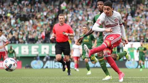 May 14, 2017; Portland, OR, USA; Atlanta United midfielder Miguel Almiron (10) attempts a shot on goal against the Portland Timbers in the second half at Providence Park. Mandatory Credit: Jaime Valdez-USA TODAY Sports