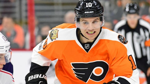 Mar 13, 2017; Philadelphia, PA, USA; Philadelphia Flyers center Brayden Schenn (10) during game against the Columbus Blue Jackets during the third period at Wells Fargo Center. The Blue Jackets defeated the Flyers, 5-3. Mandatory Credit: Eric Hartline-USA TODAY Sports