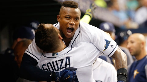 Jul 25, 2017; St. Petersburg, FL, USA;Tampa Bay Rays second baseman Tim Beckham (1) celebrates  with right fielder Steven Souza Jr. (20) in the dugout after he hit a 3-run home run during the second inning against the Baltimore Orioles at Tropicana Field. Mandatory Credit: Kim Klement-USA TODAY Sports