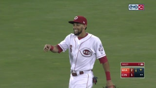 WATCH: Billy Hamilton throws out Marcell Ozuna at home