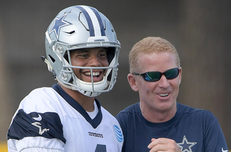 Images of Dak controls Cowboys at camp, quite a switch in a year