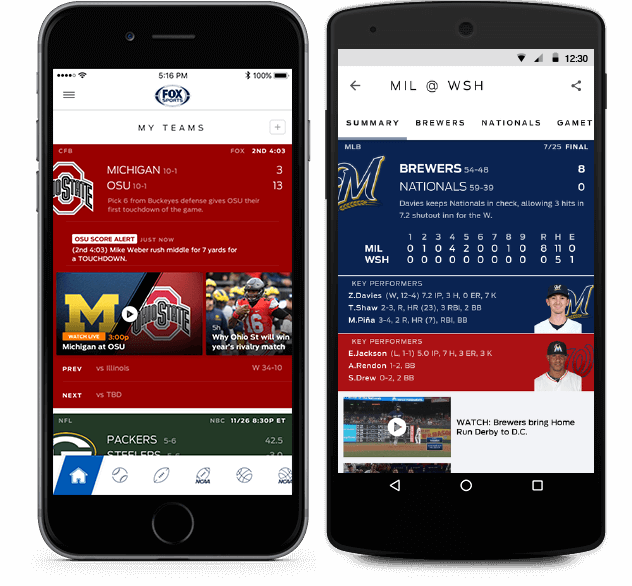 The FOX Sports iPhone app screenshot