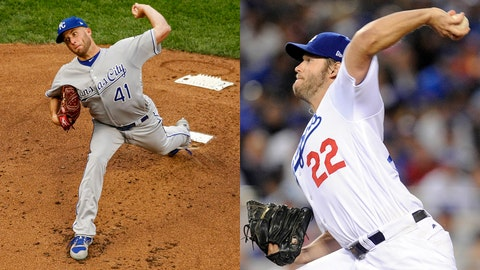 Royals pitcher Danny Duffy and Dodgers pitcher Clayton Kershaw