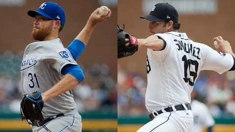 Royals pitcher Ian Kennedy and Tigers pitcher Anibal Sanchez