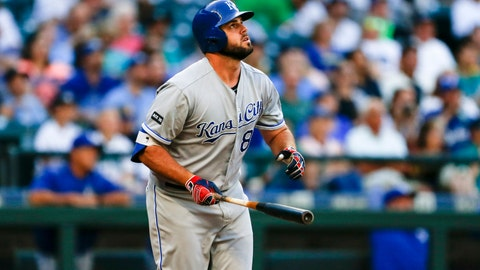 Jul 5, 2017; Seattle, WA, USA; Kansas City Royals third baseman Mike Moustakas (8) watches his two-run home run against the Seattle Mariners during the first inning at Safeco Field. Mandatory Credit: Joe Nicholson-USA TODAY Sports
