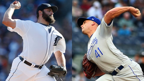 Tigers pitcher Michael Fulmer and Royals pitcher Danny Duffy