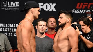 Chris Weidman and Kelvin Gastelum weigh in for the UFC Fight Night main event