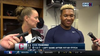 Jose Ramirez in good spirits after injury scare: 'I'm standing right here'
