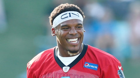 Jul 26, 2017; Spartanburg, SC, USA; Carolina Panthers quarterback Cam Newton (1) smiles during stretches during training camp held at Wofford College. Mandatory Credit: Jeremy Brevard-USA TODAY Sports