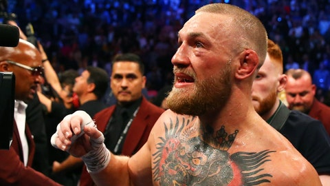 Aug 26, 2017; Las Vegas, NV, USA; Conor McGregor following the fight against Floyd Mayweather Jr. (not pictured) during a boxing match at T-Mobile Arena. Mandatory Credit: Mark J. Rebilas-USA TODAY Sports