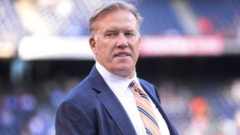 Oct 13, 2016; San Diego, CA, USA; Denver Broncos general manager John Elway looks on before the game against the San Diego Chargers at Qualcomm Stadium. San Diego won 21-13. Mandatory Credit: Orlando Ramirez-USA TODAY Sports