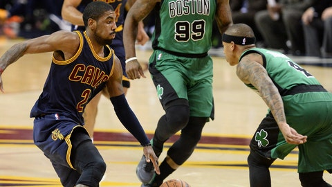 Feb 5, 2016; Cleveland, OH, USA; Cleveland Cavaliers guard Kyrie Irving (2) and Boston Celtics guard Isaiah Thomas (4) during the second quarter at Quicken Loans Arena. Mandatory Credit: Ken Blaze-USA TODAY Sports
