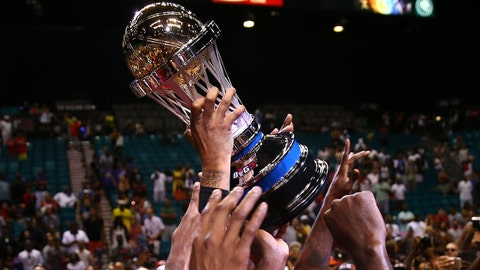 August 26, 2017; Las Vegas, NV, USA; General view of the championship trophy following the Big 3 championship game between 3 Headed Monsters and Trilogy at MGM Grand Garden Arena. Mandatory Credit: Mark J. Rebilas-USA TODAY Sports