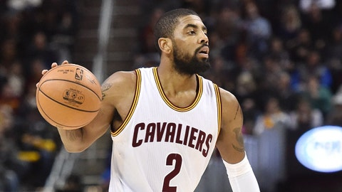 Feb 11, 2017; Cleveland, OH, USA; Cleveland Cavaliers guard Kyrie Irving (2) during the second half against the Denver Nuggets at Quicken Loans Arena. The Cavs won 125-109. Mandatory Credit: Ken Blaze-USA TODAY Sports