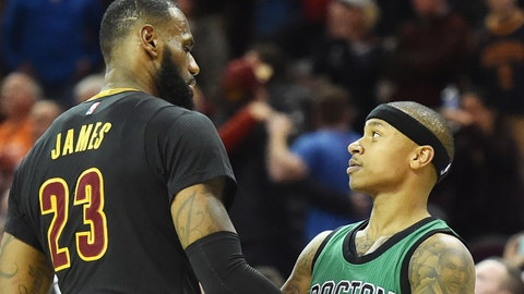 Dec 29, 2016; Cleveland, OH, USA; Cleveland Cavaliers forward LeBron James (23) and Boston Celtics guard Isaiah Thomas (4) talk after the game at Quicken Loans Arena. The Cavs won 124-118. Mandatory Credit: Ken Blaze-USA TODAY Sports