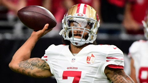 Nov 13, 2016; Glendale, AZ, USA;  San Francisco 49ers quarterback Colin Kaepernick (7) warms up prior to the game against the Arizona Cardinals at University of Phoenix Stadium. Mandatory Credit: Matt Kartozian-USA TODAY Sports