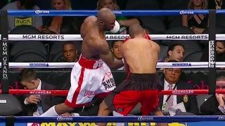 Yordenis Ugas knocks down Thomas Dulorme twice in Round 2 during MayweatherMcGregor prelims