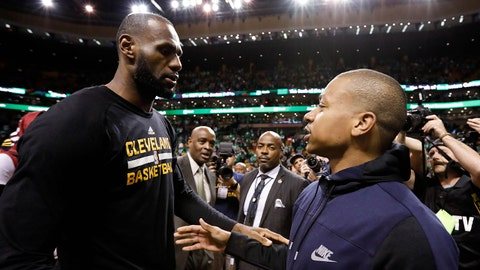 May 25, 2017; Boston, MA, USA; Cleveland Cavaliers forward LeBron James (23) and Boston Celtics guard Isaiah Thomas (4) meet after game five of the Eastern conference finals of the NBA Playoffs at the TD Garden. Mandatory Credit: Greg M. Cooper-USA TODAY Sports
