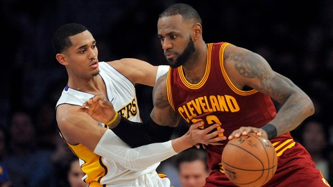 March 19, 2017; Los Angeles, CA, USA; Cleveland Cavaliers forward LeBron James (23) moves the ball against Los Angeles Lakers guard Jordan Clarkson (6) during second half at Staples Center. Mandatory Credit: Gary A. Vasquez-USA TODAY Sports