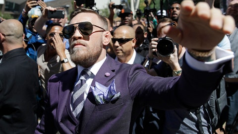 Conor McGregor waves to fans during the arrivals for a boxing match Tuesday, Aug. 22, 2017, in Las Vegas. McGregor is scheduled to fight Floyd Mayweather Jr. in a boxing match Saturday in Las Vegas. (AP Photo/John Locher)