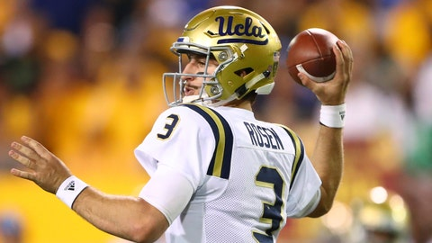 Oct 8, 2016; Tempe, AZ, USA; UCLA Bruins quarterback Josh Rosen (3) against the Arizona State Sun Devils at Sun Devil Stadium. Mandatory Credit: Mark J. Rebilas-USA TODAY Sports