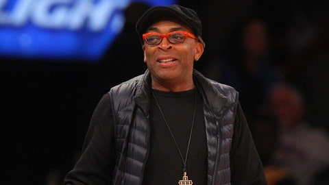 Nov 10, 2014; New York, NY, USA; Actor and director Spike Lee reacts during the fourth quarter between the New York Knicks and the Atlanta Hawks at Madison Square Garden. The Hawks defeated the Knicks 91-85. Mandatory Credit: Brad Penner-USA TODAY Sports