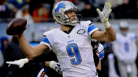 Jan 3, 2016; Chicago, IL, USA; Detroit Lions quarterback Matthew Stafford (9) throws a pass in the first quarter of their game against the Chicago Bears at Soldier Field. Mandatory Credit: Matt Marton-USA TODAY Sports