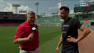 Joe Kelly shows Jim Hayes the Red Sox bullpen