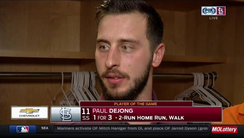 Paul DeJong reacts after hitting his 20th big-league homer