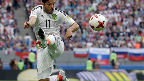 Mexico's Carlos Vela plays the ball during the Confederations Cup, Group A soccer match between Mexico and Russia, at the Kazan Arena, Russia, Saturday, June 24, 2017. (AP Photo/Thanassis Stavrakis)