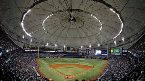 FILE - In this June 17, 2016, file photo, the crowd on Pride Night at Tropicana Field watches during the fifth inning of a baseball game between the Tampa Bay Rays and the San Francisco Giants in St. Petersburg, Fla. Baseball Commissioner Rob Manfred is willing to wait - to a point - for the Rays and Oakland Athletics to get new ballparks. Tampa Bay and Oakland are the only two major league teams currently seeking new stadiums. (AP Photo/Chris O'Meara, File)
