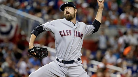 American League's Cleveland Indians pitcher Andrew Miller throws a pitch, during the MLB baseball All-Star Game, Tuesday, July 11, 2017, in Miami. The American League defeated the National League 2-1. (AP Photo/Lynne Sladky)