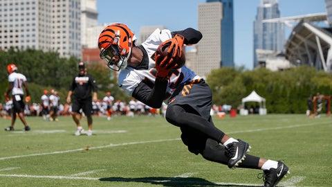 Cincinnati Bengals wide receiver John Ross runs a drill during NFL football training camp, Saturday, July 29, 2017, in Cincinnati. (AP Photo/John Minchillo)