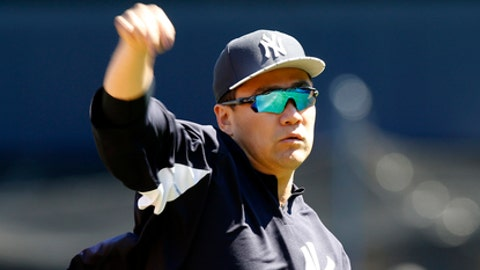 New York Yankees starting pitcher Masahiro Tanaka throws on flat ground before a baseball game at Yankee Stadium in New York, Sunday, July 30, 2017. (AP Photo/Kathy Willens)