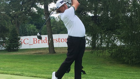 Pat Perez drives off the 13th tee during a practice round for the Bridgestone Invitational at Firestone Country Club in Akron, Ohio, Tuesday, Aug. 1, 2017. After missing last year because of shoulder surgery, Perez is having the best season of his PGA Tour career. (AP Photo/Doug Ferguson)