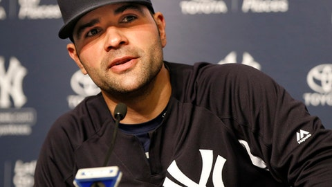 New York Yankees starting pitcher Jaime Garcia, who was traded at the trading deadline, to the Yankees from the Minnesota Twins after a brief stint there following his trade to the Twins from the Atlanta Braves, speaks at a press conference introducing him to the media at Yankee Stadium in New York, Tuesday, Aug. 1, 2017. (AP Photo/Kathy Willens)