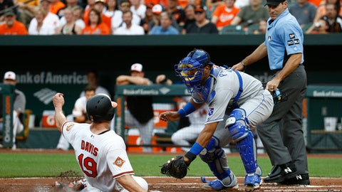 Baltimore Orioles' Chris Davis, left, is tagged out by Kansas City Royals catcher Salvador Perez on a fielder's choice ground ball that was hit by Tim Beckham in the first inning of a baseball game in Baltimore, Tuesday, Aug. 1, 2017. Also pictured at right is home plate umpire Angel Hernandez. (AP Photo/Patrick Semansky)