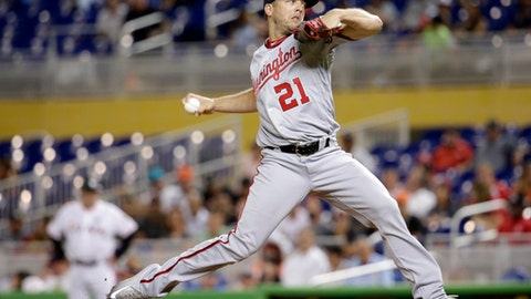 Washington Nationals relief pitcher Brandon Kintzler delivers during the eighth inning of the team's baseball game against the Miami Marlins, Wednesday, Aug. 2, 2017, in Miami. The Marlins won 7-0. (AP Photo/Lynne Sladky)