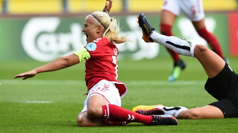 Denmark's Pernille Harder tumbles on the field during the Women's Euro 2017 semifinal soccer match between Denmark and Austria in Breda, the Netherlands Thursday, Aug. 3, 2017. (AP Photo/Ermindo Armino)