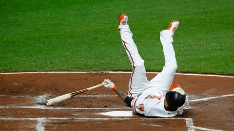 Baltimore Orioles' Manny Machado falls after striking out swinging during the first inning of the team's baseball game against the Detroit Tigers in Baltimore, Thursday, Aug. 3, 2017. (AP Photo/Patrick Semansky)