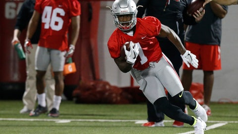 FILE - In this March 7, 2017, file photo, Ohio State wide receiver Johnnie Dixon runs the ball during spring NCAA college football practice in Columbus, Ohio. The Buckeyes are hoping one of the half dozen or so unproven but talented wideouts becomes a household name, or at least turns into a reliable deep-ball threat.  (AP Photo/Jay LaPrete, File)