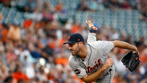 Detroit Tigers starter Justin Verlander follows through on a pitch to the Baltimore Orioles in the second inning of a baseball game in Baltimore, Friday, Aug. 4, 2017. (AP Photo/Patrick Semansky)