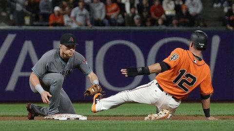 Arizona Diamondbacks second baseman Brandon Drury, left, prepares to tag out San Francisco Giants' Joe Panik during the sixth inning of a baseball game in San Francisco, Friday, Aug. 4, 2017. (AP Photo/Jeff Chiu)