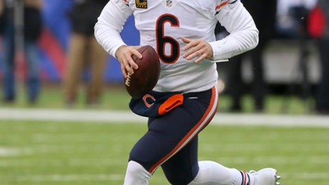 FILE - In this Nov. 20, 2016 file photo, Chicago Bears quarterback Jay Cutler (6) rolls out of the pocket against the New York Giants during the second quarter of an NFL football game in East Rutherford, N.J. Cutler will have season-ending surgery on his right shoulder. Coach John Fox announced Thursday, Dec. 1, that the veteran quarterback will have an operation to repair the labrum in his shoulder. (AP Photo/Seth Wenig, File)