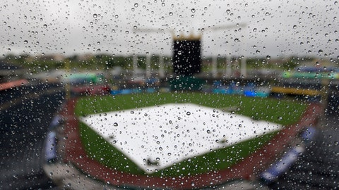 The tarp and playing surface are seen through raindrops on a press box window before a baseball game between the Kansas City Royals and the Seattle Mariners at Kauffman Stadium in Kansas City, Mo., Saturday, Aug. 5, 2017. (AP Photo/Orlin Wagner)