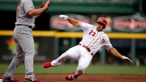 Cincinnati Reds left fielder Adam Duvall (23) slides into with a triple off St. Louis Cardinals starting pitcher Lance Lynn as Cardinals' third baseman Jedd Gyorko (3) waits for the throw during the first inning of a baseball game, Saturday, Aug. 5, 2017, in Cincinnati. (AP Photo/Gary Landers)