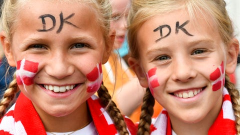 Two girls, supporter of Denmark's women national soccer team, smiles as they arrive in front of the stadium prior to the Women's Euro 2017 final soccer match between Netherlands and Denmark in Enschede, the Netherlands, Sunday, Aug. 6, 2017. (AP Photo/Patrick Post)