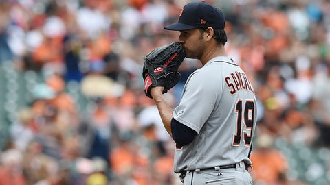 Detroit Tigers starting pitcher Anibal Sanchez reacts after giving up a home run to the Baltimore Orioles in the fourth inning of a baseball game, Sunday, Aug. 6, 2017, in Baltimore. (AP Photo/Gail Burton)